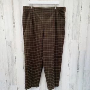 Avenue Brown Plaid Ponte High Rise Trousers